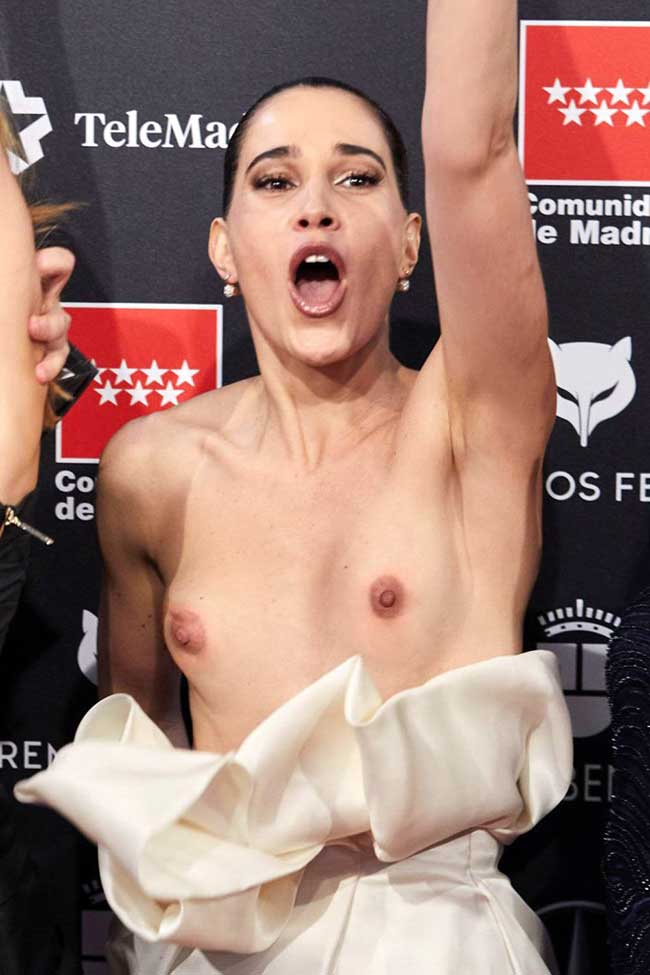 Celia Freijeiro Totally Loses her Dress on the Red Carpet