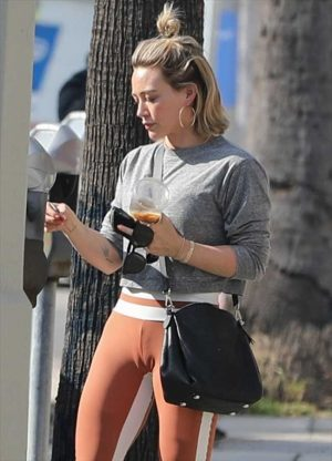 Hilary Duff Cameltoe in Tight Red Spandex Pants