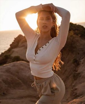Kara del Toro Braless Nipple Pokies in a Beige Sweater