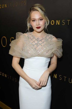 Kelli Berglund Braless in Totally Sheer White Lace Gown