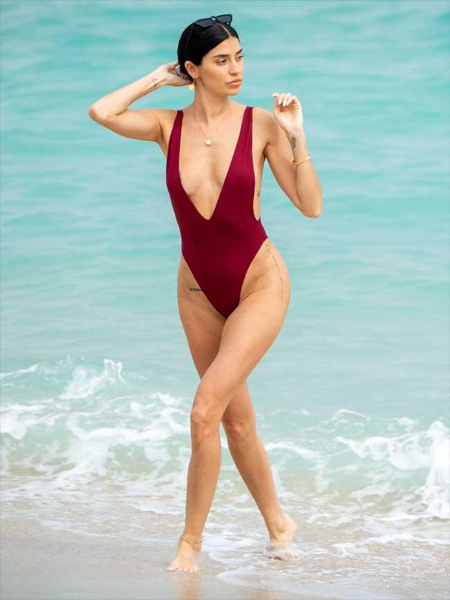 Nicole Williams Areola Slip in Burgundy Swimsuit