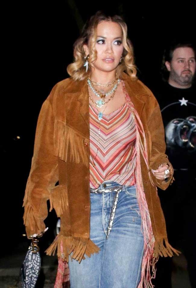 Rita Ora Braless in Sheer Rainbow Shirt