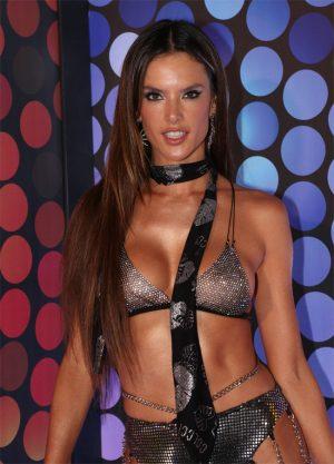 Alessandra Ambrosio Nipples in Chain Link Bra for Mardi Gras