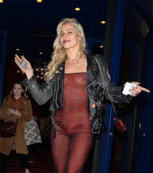 Alice Dellal Braless in a Maroon Jumper Out in Public