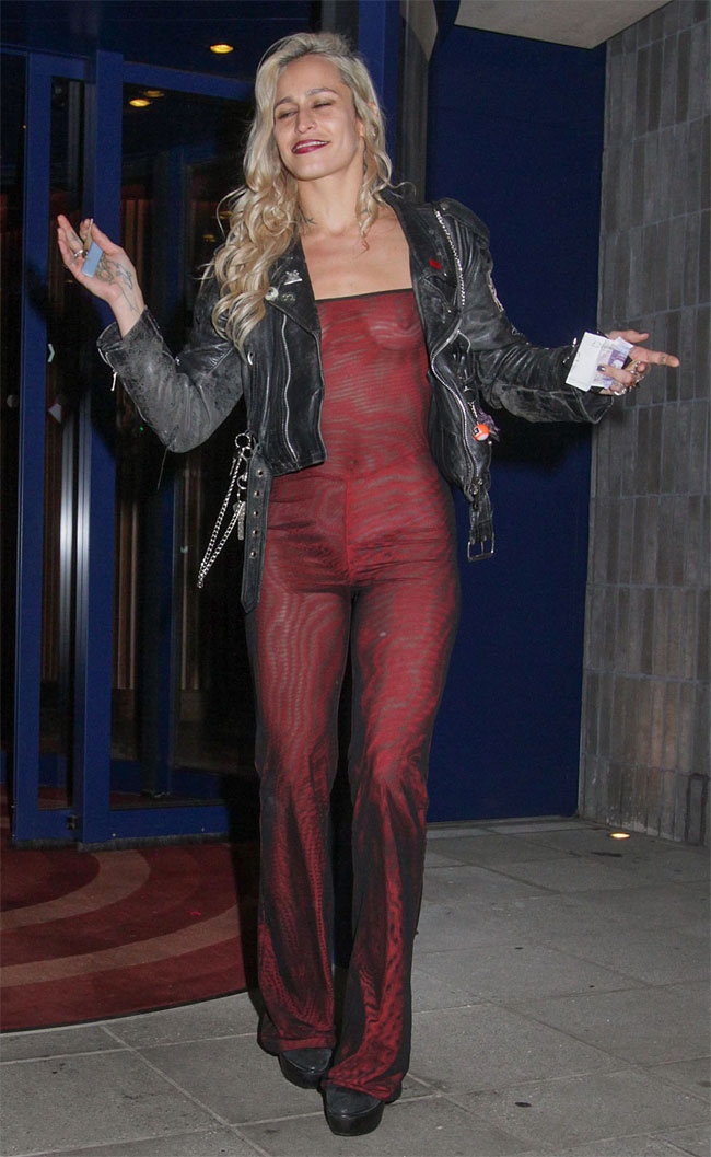 Alice Dellal Braless in a Maroon Jumper Out in Public