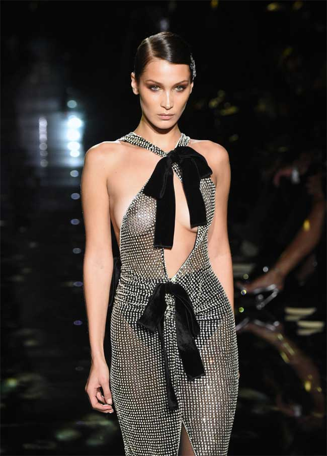 Bella Hadid Hits the Catwalk in a Sheer Black Gown