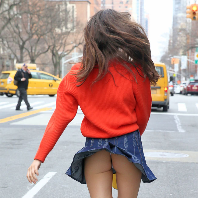 Charlotte D'Alessio Wind Blown Upskirt in NYC