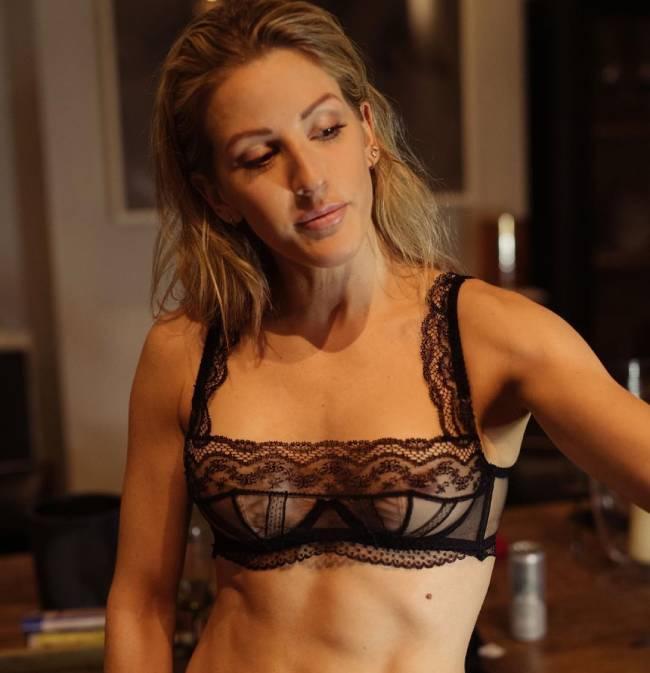 Ellie Goulding Nipple Peek in her Black Lace Bra