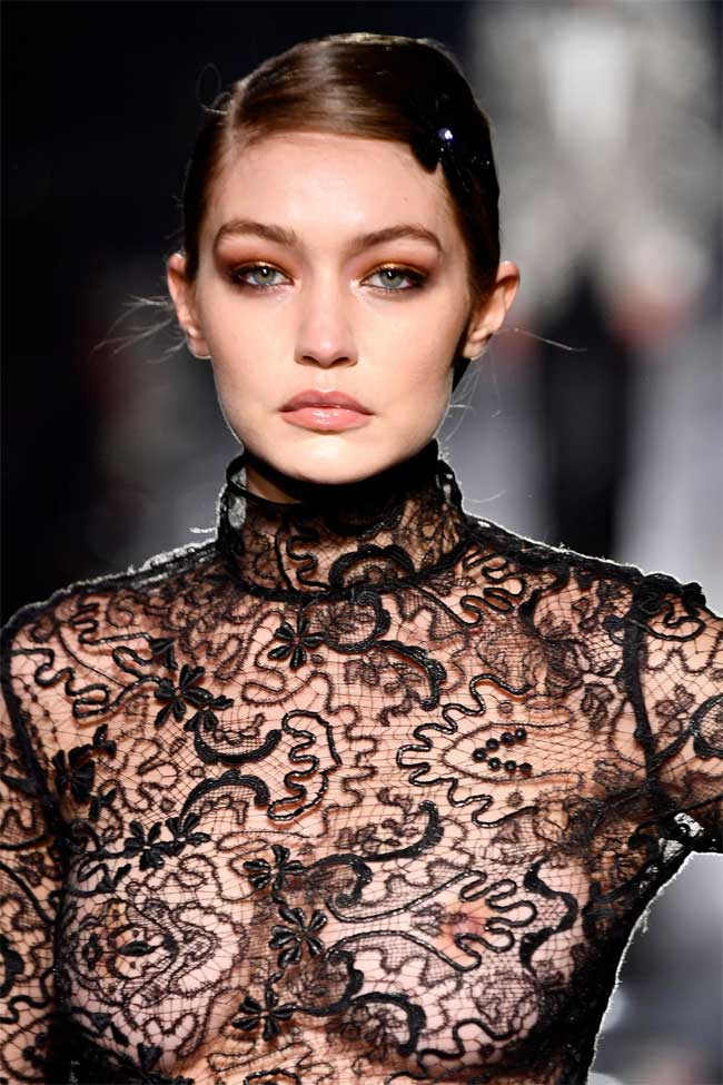 Gigi Hadid Braless in Black Lace Top on the Cat Walk