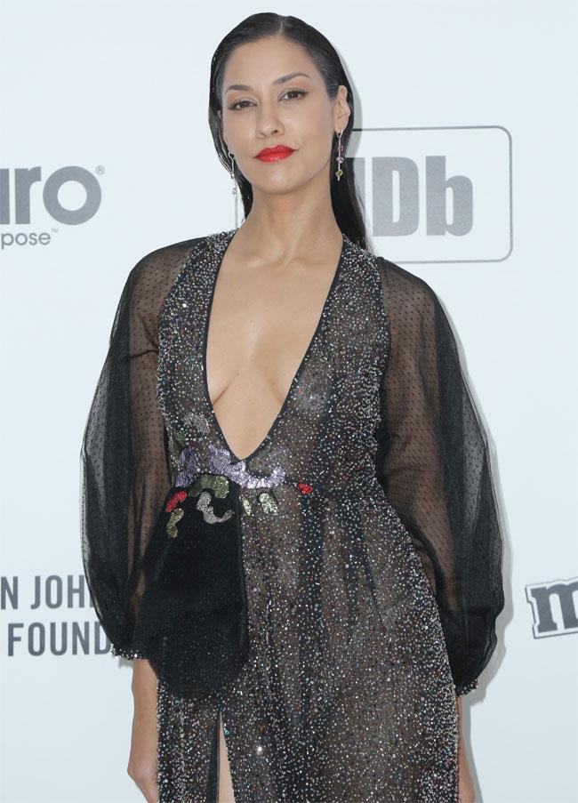 Janina Gavankar No Bra on the Red Carpet in a Sheer Dress