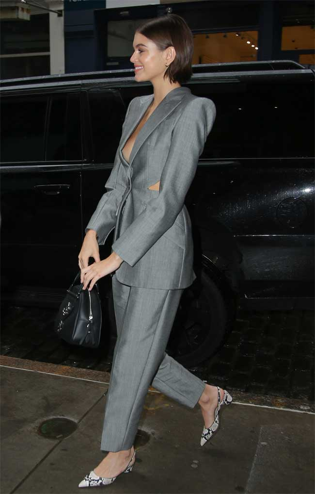 Kaia Gerber Side Boob in Grey Suit