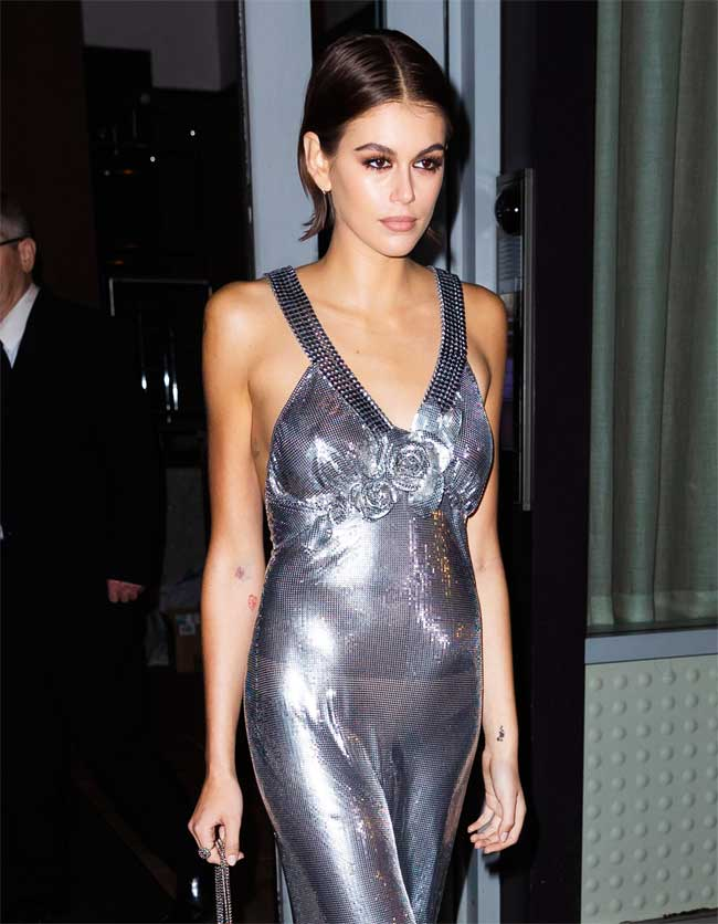 Kaia Gerber Panties and Pokies in a Silver Evening Gown
