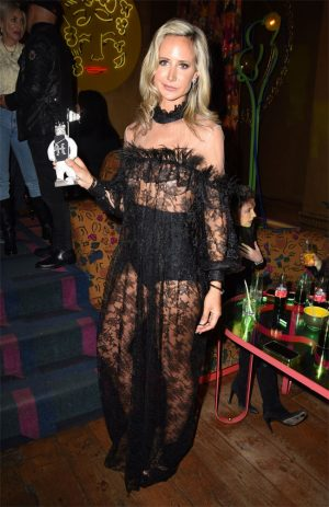 Lady Victoria Hervey Huge Nipple Pasties in Black Lace Dress