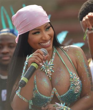 Nicki Minaj Areola Peek at the 2020 Mardi Gras Celebration