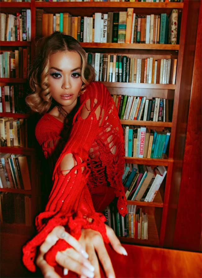 Rita Ora Big Boobs in a Torn Red Dress
