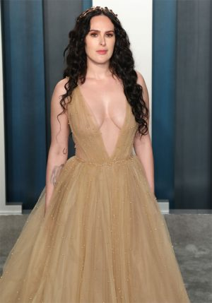 Rumer Willis on the Red Carpet Braless in a Sheer Yellow Gown