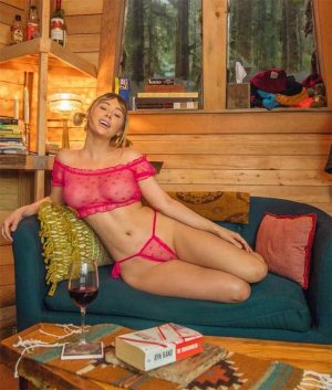 Sara Underwood in Pigtails and Pink Lingerie at her Cabin