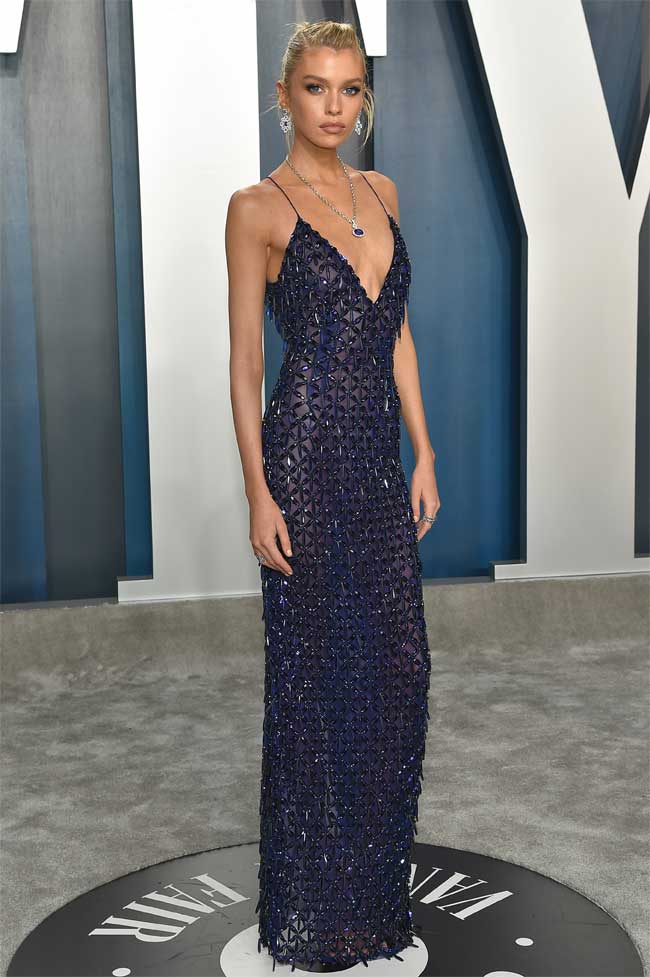Stella Maxwell Braless in Sheer Blue Gown on the Red Carpet