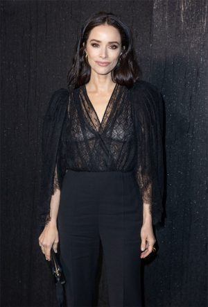 Abigail Spencer Braless in Black Lace Blouse