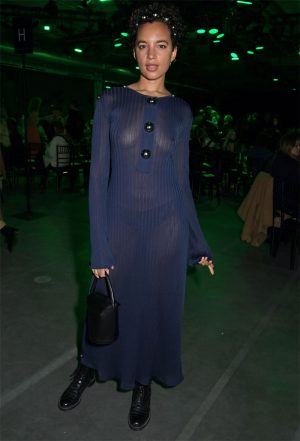 Amel Rachedi Braless in a Totally Sheer Blue Dress
