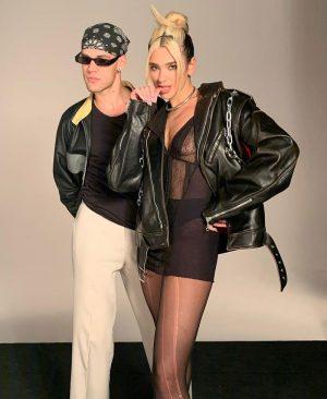 Dua Lipa Posing in a Black Lace Bra