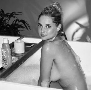 Genevieve Morton Black & White & Naked in a Bath Tub