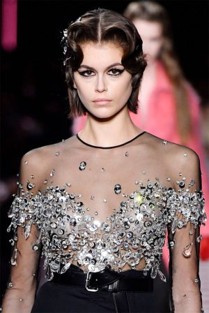 Kaia Gerber Nipples in Sheer Blouse on the Catwalk