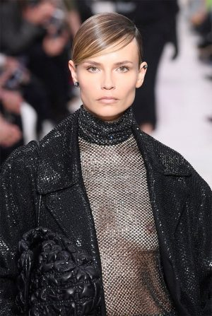Natasha Poly Breasts in Sheer Top on the Catwalk