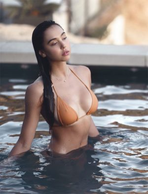 Alexis Ren Yellow Bikini Nipple Pokies