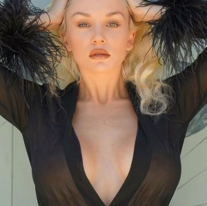 Courtney Stodden Wearing a Black See Through Robe