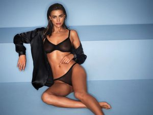 Irina Shayk in Sheer Black Bra and Panties