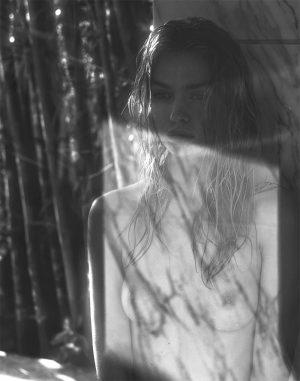 Stella Maxwell Nude in Black & White Fashion Photo