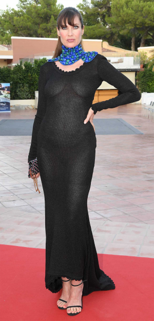 Carol Alt Braless in a See Through Dress on the Red Carpet