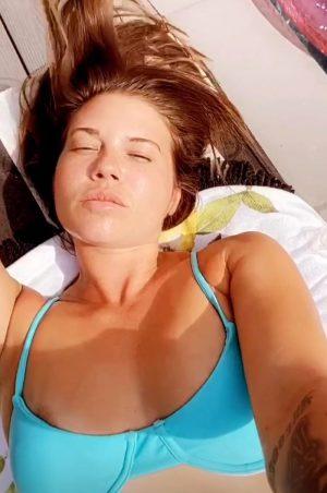 Chanel West Coast Areola Slip in a Turquoise Bikini