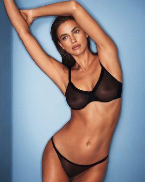 Irina Shayk Modeling a Sheer Black Bra