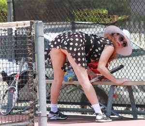 Phoebe Price Red Pantie Upskirt While Stretching for Tennis Lesson