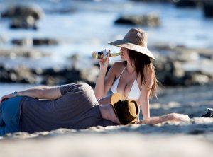 Emily Ratajkowski Areola Peek in White Bikini Top