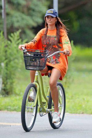 Emily Ratajkowski Black Pantie Upskirt on a Bike
