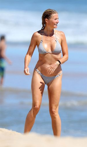 Gwyneth Paltrow Hard Nipples and Cameltoe in Striped Bikini