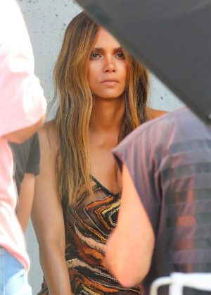 Halle Berry Modeling a See Through Evening Gown