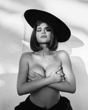 Kylie Jenner Black & White Hand Bra