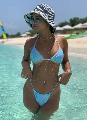 Vanessa Hudgens Nipples in Slightly See Through Baby Blue Bikini