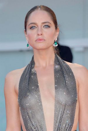 Matilde Gioli Braless in Sheer Silver Top