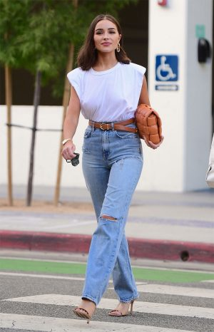Olivia Culpo Braless Pokies in a White Blouse