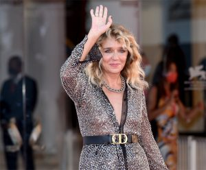Valeria Golino Braless in Silver Gown on the Red Carpet