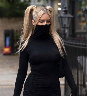Lottie Moss Braless in Black Sheer Dress