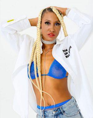 Candice Wiggins Posing in a See Through Blue Bra