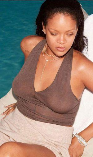 Rihanna Braless in Brownish Sheer Shirt