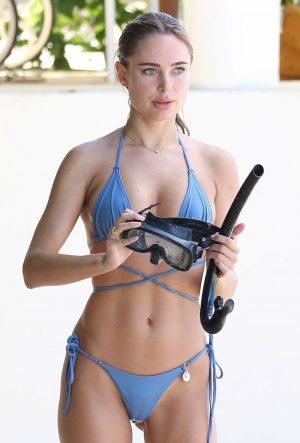 Kimberley Garner Wet Cameltoe in Blue Bikini Bottoms
