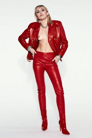 Miley Cyrus Topless in a Red Leather Suit